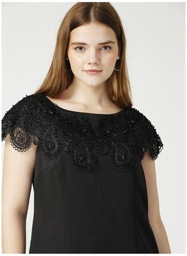 Ekol Ekol Siyah Yakası Taşlı Elbise Siyah